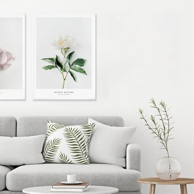 화이트 모란 꽃 그림 인테리어 액자 50x70(500x700mm) 포스터 + 피스크보액자