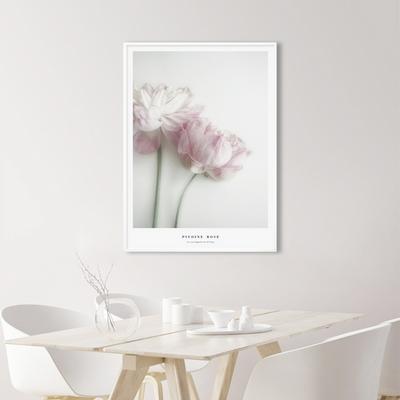 핑크 모란 꽃 그림 인테리어 액자 50x70(500x700mm) 포스터 + 이케아액자