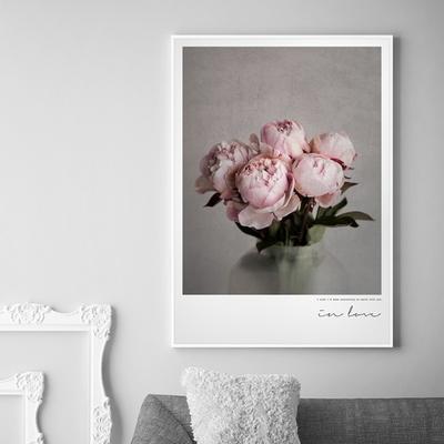 in love 모란 꽃 그림 인테리어 액자 50x70(500x700mm) 포스터 + 이케아액자