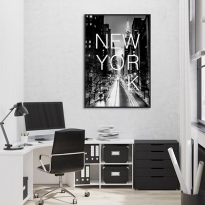 흑백 도시 뉴욕 사진 인테리어 액자 A2포스터 (액자미포함)