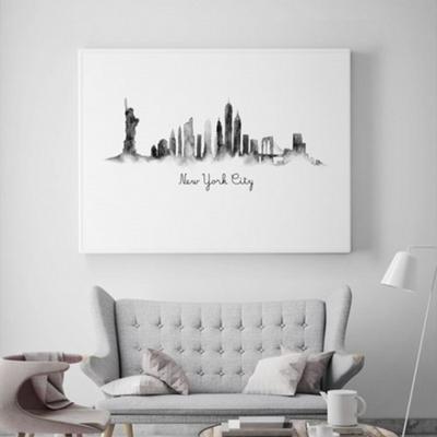 수채화 뉴욕 액자 인테리어 그림 50x70 포스터 + 알루미늄액자