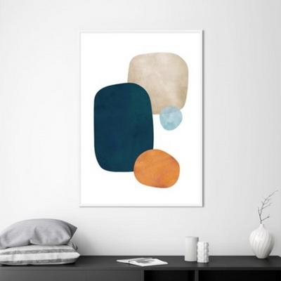 콜라주 추상화 액자 인테리어 그림 50x70 포스터 (액자미포함)