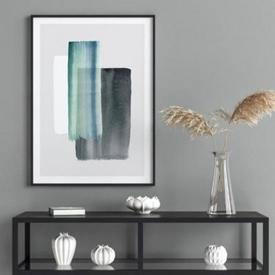로얄블루 추상화 액자 인테리어 그림 50x70 포스터 + 이케아액자