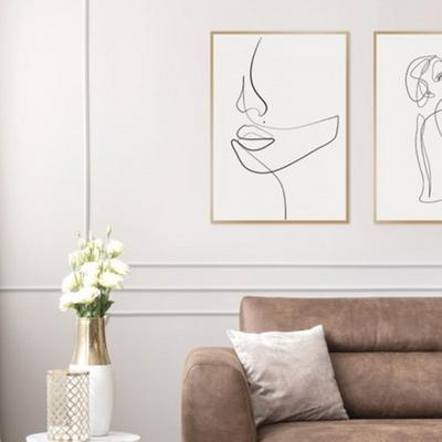 우먼페이스 드로잉 그림 인테리어 액자 50x70 포스터 (액자미포함)