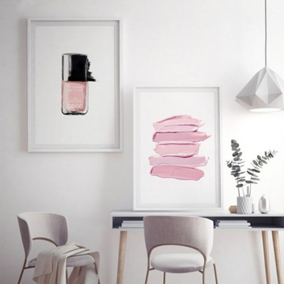 핑크라인 패션 포스터 인테리어 그림 액자 50x70 포스터 + 피스크보액자
