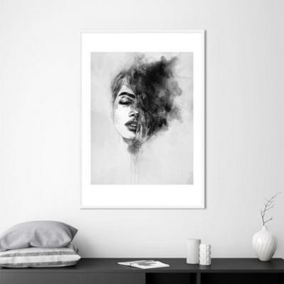 수채화 여인 드로잉 그림 인테리어 액자 50x70 포스터 + 피스크보액자