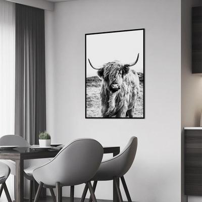 흑백 소 동물 액자 인테리어 그림 A3 포스터 (액자미포함)
