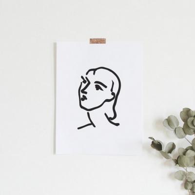 나디아 앙리마티스 그림 드로잉 인테리어 액자 50x70 포스터 + 이케아액자