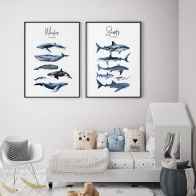 고래 남자 아이방 동물 그림 인테리어 액자 A2 포스터 (액자미포함)