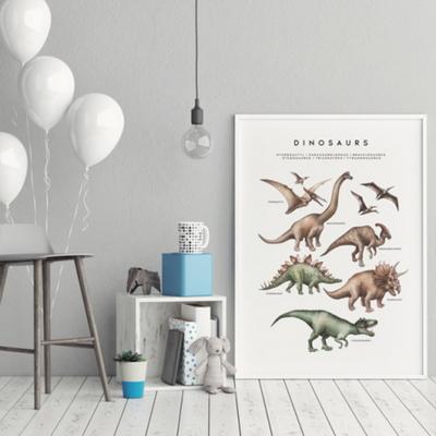 공룡 남자 아이방 동물 그림 인테리어 액자 A3 포스터 + 알루미늄액자