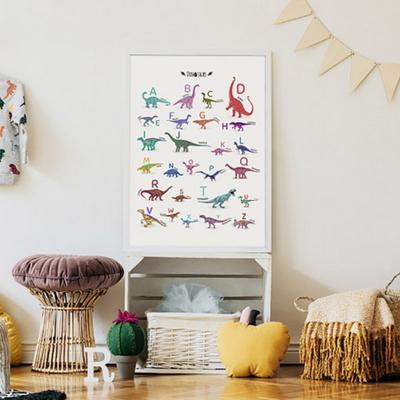 알파벳 공룡 남자 아이방 동물 그림 인테리어 액자 A3 포스터 + 알루미늄액자