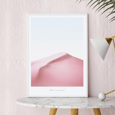 핑크사막 감성 핑크 인테리어 그림 A3 포스터 + 알루미늄액자