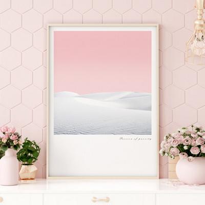화이트사막 감성 핑크 인테리어 그림 A3 포스터 + 알루미늄액자