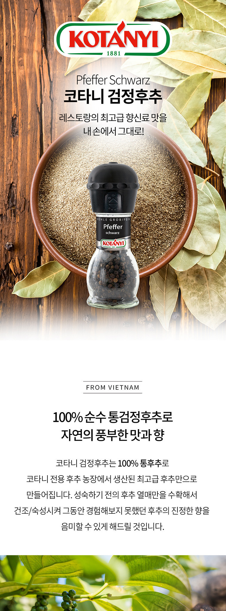 코타니-검정 후추 그라인더 - 코타니, 6,900원, 조미료, 후추/향신료