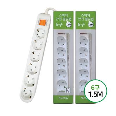 [나이스데이]멀티탭(2개)콘센트일반6구 1.5M
