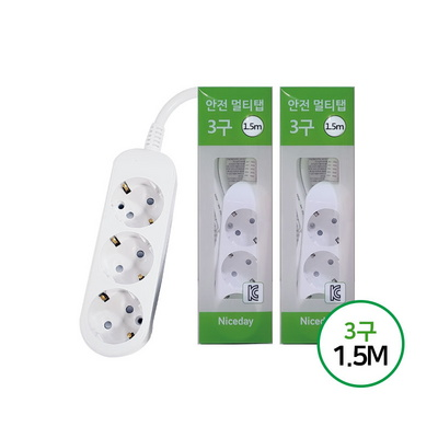 [나이스데이]멀티탭(2개)콘센트일반3구 1.5M