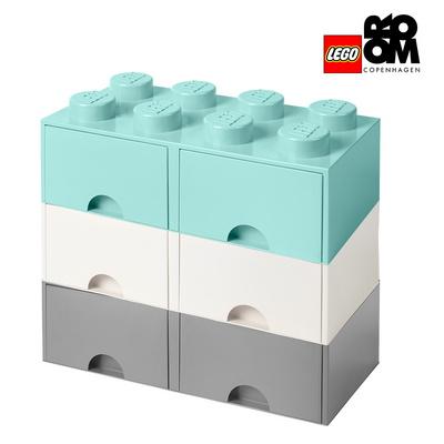 [레고스토리지] 레고 정품 8구 3단서랍장 세트-8S화이트_8S그레이+8S아쿠아