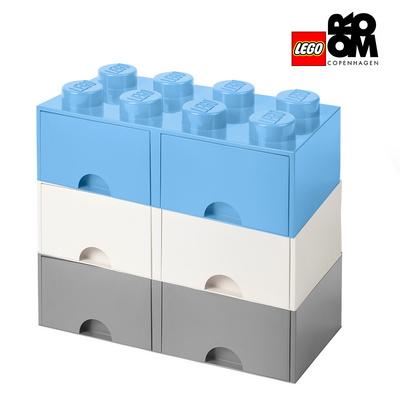 [레고스토리지] 레고 정품 8구 3단서랍장 세트-8S화이트_8S그레이+8S로얄블루