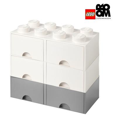 [레고스토리지] 레고 정품 8구 3단서랍장 세트-8S화이트_8S그레이+8S화이트