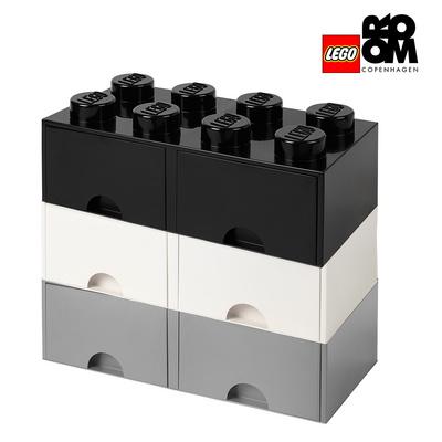 [레고스토리지] 레고 정품 8구 3단서랍장 세트-8S화이트_8S그레이+8S블랙