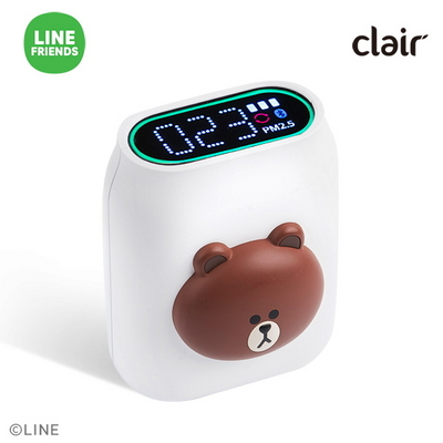 클레어 라인프렌즈 브라운 휴대용 미세먼지 공기 측정기