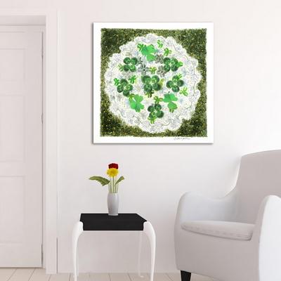 네잎클로버 풍수지리 한국화 인테리어 캔버스 그림액자