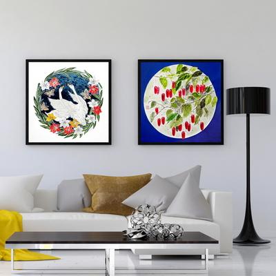 백조의호수 한국화 인테리어 캔버스 그림액자