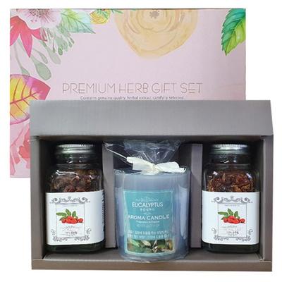 [허브플러스] 천연차 허브차 작은병 유리컵 향초 선물세트