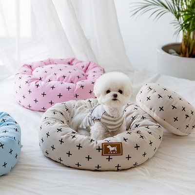 조우니 강아지 마약방석 크로스 원형 (L)