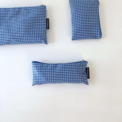 블루 체크 파우치(Blue check pouch)