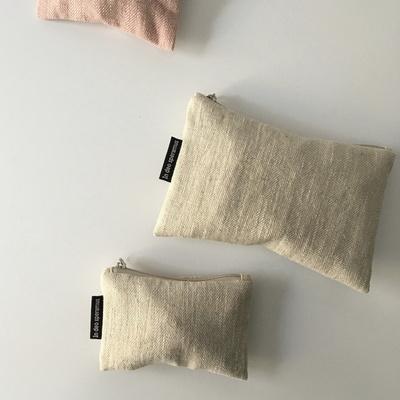 퓨어 헤링본 베이지 그레이 파우치(Pure herringbone beige gray pouch)