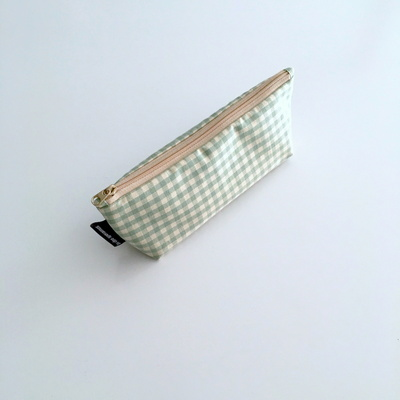 민트 체크 필통(Mint check pencil case)
