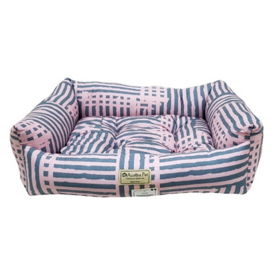 강아지쿠션 오로라펫 사각방석 핑크소다라인(중)