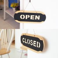 오픈클로즈 문패 영업중 양면 우드 팻말 소형 6702