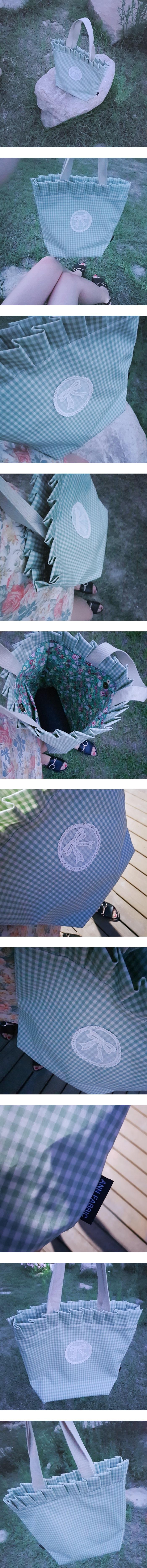 여성 여름 방수 비치 프릴 체크 숄더백 핸드메이드 - 바이앤, 45,000원, 숄더백, 패브릭숄더백