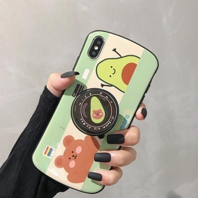 앙증맞은 곰 아보카도 캐릭터 스마트톡 아이폰 케이스