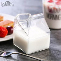 우유곽 글라스 모양 유리컵 밀크글라스 밀크팩 우유잔