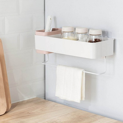 북유럽풍 접착식 욕실 정리함 수건걸이 욕실선반
