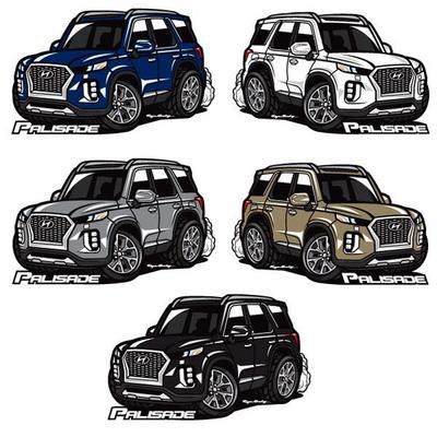 프리스타일 팰리세이드 차량용 캐릭터 스티커