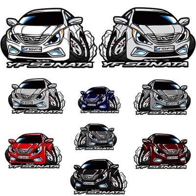 프리스타일 YF소나타 차량용 캐릭터 스티커