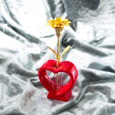 24K 하트꽃병 미니금카네이션 선물세트
