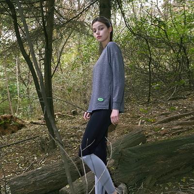 여성 요가복 DEVI-T0022-차콜 필라테스 기모 긴팔 티셔츠
