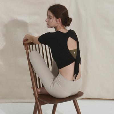 여성 요가복 DEVI-T0043-블랙 필라테스 커버업 반팔티 티셔츠