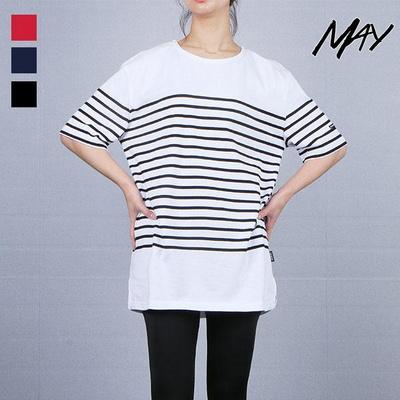 [메이] 데일리 20수 오버핏 여성 루즈핏 블럭스트라이프 반팔 티셔츠