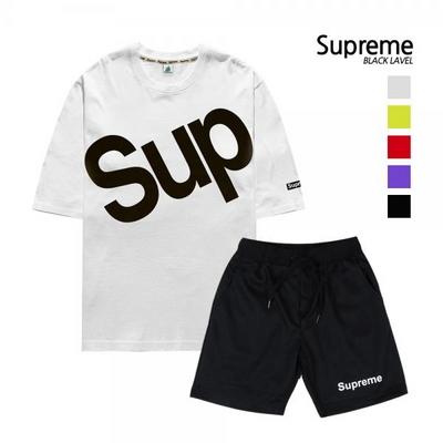 [슈프림] 남여공용 트레이닝 세트_5부 SUP 티셔츠+체커반바지 세트