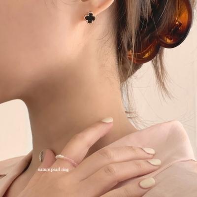 프리사이즈 파스텔 컬러비즈 담수진주 밴딩반지 4color