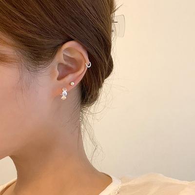 [925실버] 원형 스마일라인 원터치 귀걸이