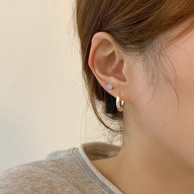 [925실버] 남녀공용 볼드 후프 원터치 링 귀걸이