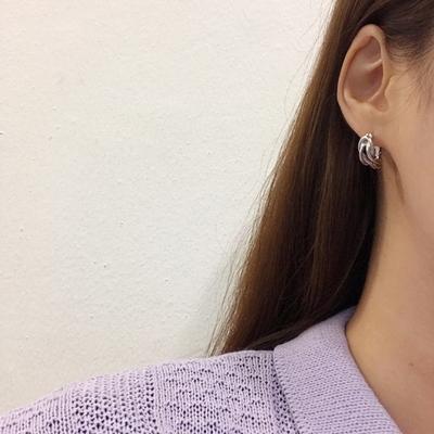 매듭 무광 원터치 귀걸이