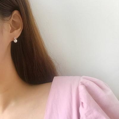 925실버 미니 담수진주 로즈화이트 오팔 귀걸이